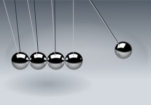 newton's cradle illustrating concept of goals