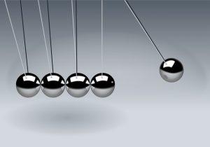 newton's cradle illustrating concept of goals